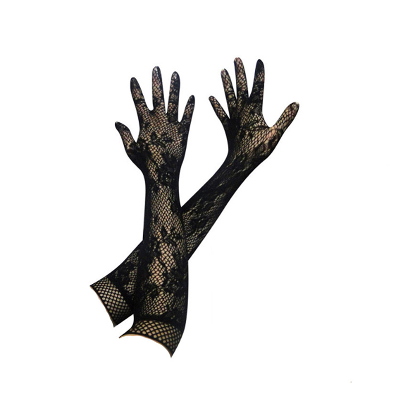 Women Sexy Lace Floral Gloves Long Hollow Out Transparent Gloves For Sex Mesh Fishnet Gloves Fetish Party Accessories