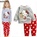 Дети Мультфильм Пижамы Устанавливает Детские Девушки Осень Зима Hello Kitty Одежда Устанавливает Младенческой Мальчик Пижамы Ночной Рубашке Pijamas де-Ниньо