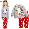 Crianças Conjuntos de Pijama Do Bebê Meninas Outono Inverno Dos Desenhos Animados Olá Kitty Conjuntos de Roupas Infantis Menino Sleepwear Camisola Pijamas de Ninos