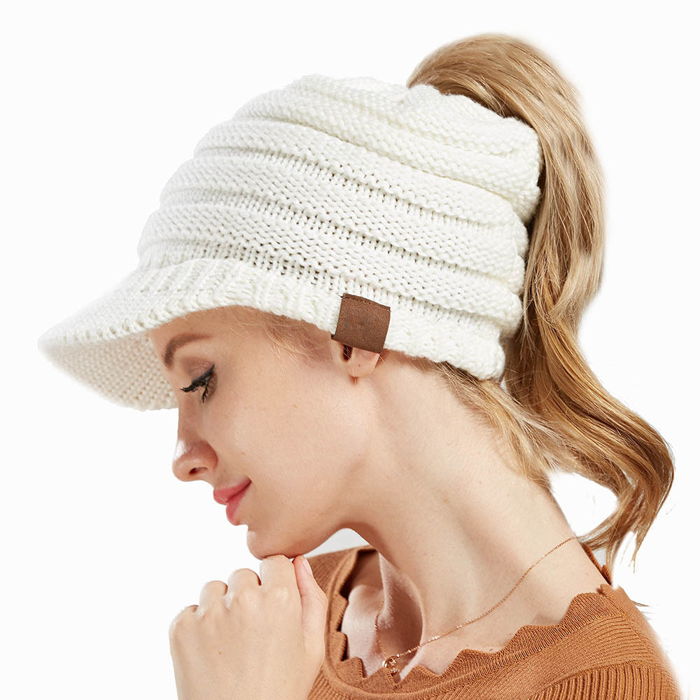 Hats Ponytail-Hat Winter Women's Caps Knitted Warm Cotton Solid Blends Female Soft Wholesale