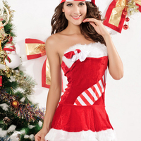 Good Quality Christmas costume sexy lingerie erotic dress Santa costume the red and white stripes women Suit for Christmas
