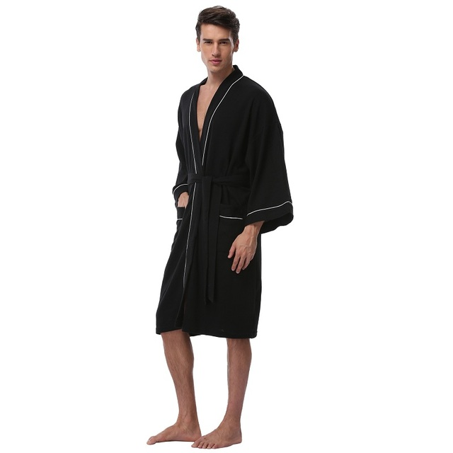 Men s Waffle Cotton Robes Long Sleeve Kimono Bath Robes Terry Cloth Winter  Pijamas Knee-Length Men s Spa Bathrobe Sleepwear 8ab7d4ca9