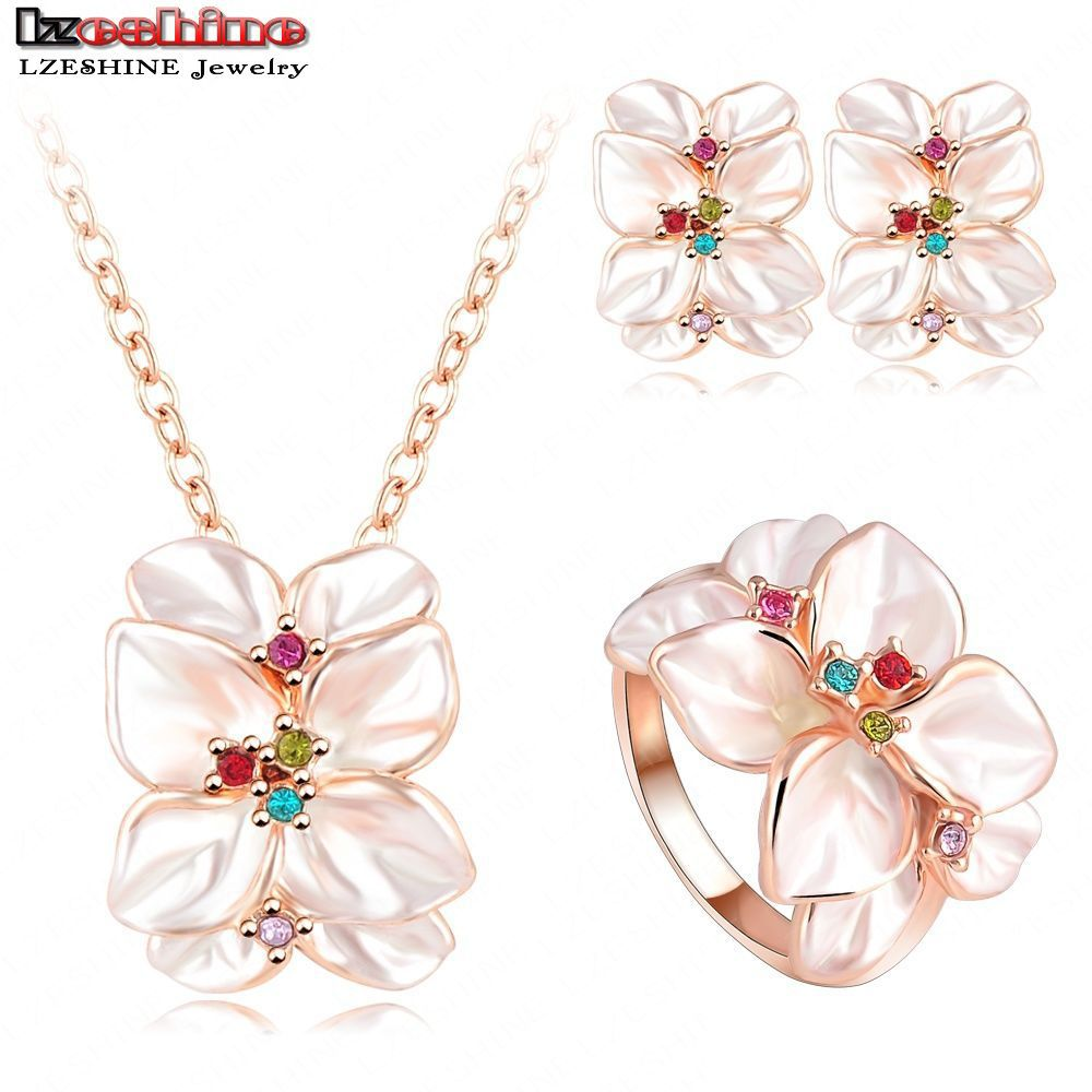 2016 Best Seller Jewelry Set Rose Gold Color Austrian Crystal Enamel Earring/Necklace/Ring Flower Set Choose Size of Ring ST0002