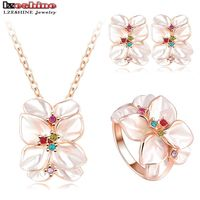 Best Seller Jewelry Set Rose Gold Plated Austrian Crystal Enamel Earring Necklace Ring Flower Set Choose