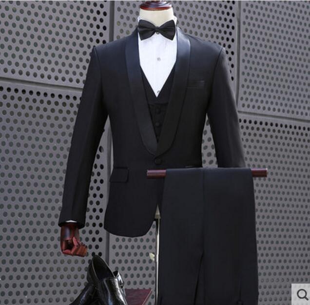9bb47a29e6f43 2018 Korean Solid Black Jacket Blazer Pants Set Plus Size Men s Slim Suit  Men Singer Show Prom Party Wedding Outfit Stage Suits