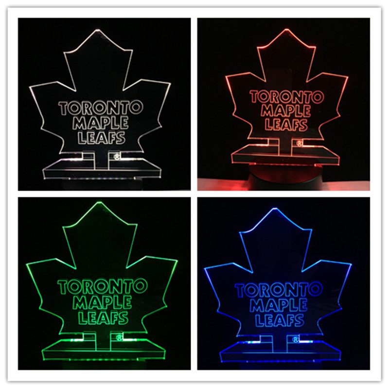 3D Lava Desk Lamp Hockey Toronto Maple Leafs LED Neon Light Canada simples crafts 7colors changing Night Light Home Decoration 3d can canada make peace