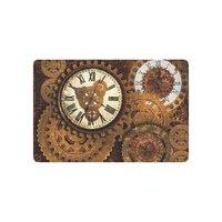 Rusty Gears and Clocks Anti-slip Door Mat Home Decor, Vintage Clock Times Indoor Outdoor Entrance Doormat Rubber Backing