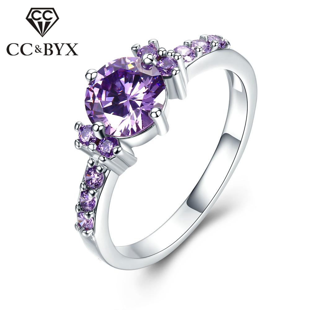 CC luxury purple engagement rings for women aneis vintage CZ wedding ring bijoux bague femme chiristmas gifts CC199