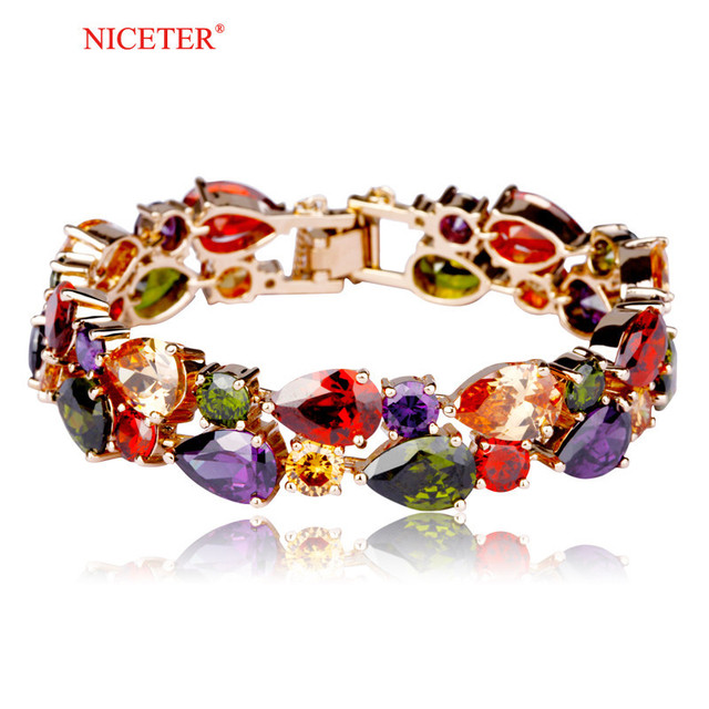 NICETER My Mona Lisa Multicolour18K Rose Gold Plated Cluster Bracelet (N8055)High Quality Bracelets For Women Accessories