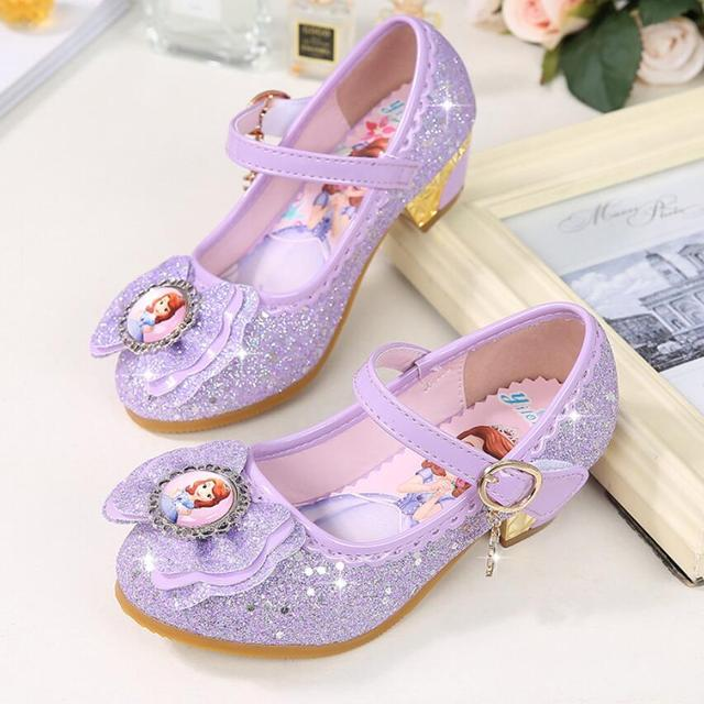 b1a7002c Nuevas sandalias de tacón alto para niñas verano primavera niños Princesa  Sofia Zapatos de Niña Zapatos