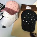 [DRESSUUP]Spring Cotton Lace Pearl Cap Pink Sequins Casual Women Baseball Cap Brand Outdoor Sport Bone Female Women Snapback Dad