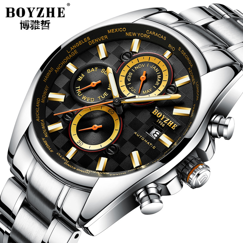 BOYZHE brand mens wristwatches Automatic mechanical business man watches stainless steel waterproof calendar week male clocks seiko shield no 5 business week calendar steel band automatic machine male watch snke01j1 snzf36j1 snzf35j1