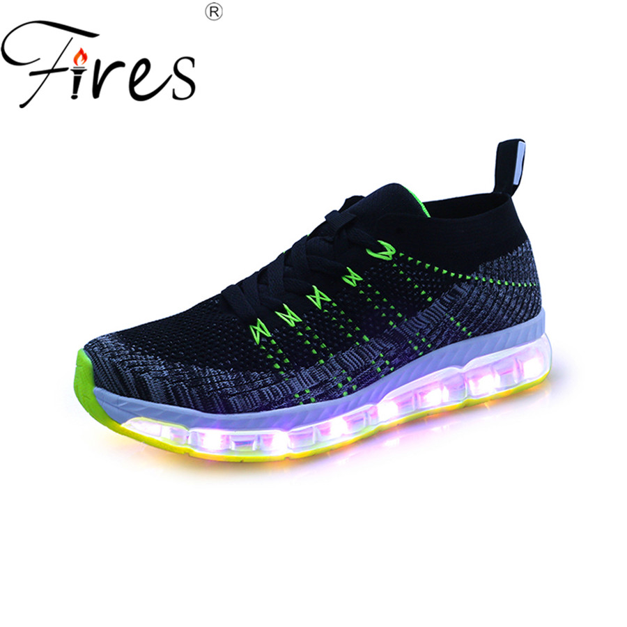 Fires sports shoes mens summer led soles outdoor breathable sport running shoes zapatilla light brand run