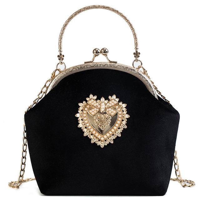Vintage Velvet Pearl Velour Heart Design Wedding Clutch