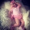 2017 Горячий продавать Девочка Комбинезон детская одежда новорожденный Розовый Принцесса Балета Топ Платье Комбинезон тела baby clothing