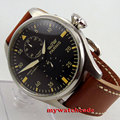 47mm parnis black dial brown strap power reserve seagull automatic mens watch672