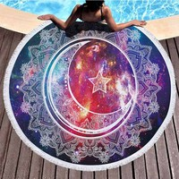 Lannidaa Beauty Star Moon Round Beach Towel Mandala Pattern Microfiber Tassel Beach Towels Serviette De Plage Toalla Playa 150CM