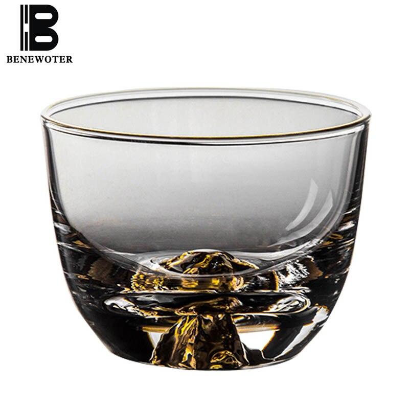 85ml kreativní japonský skleněný šálek zlatý držák Fuji vložka dvojitá zeď žáruvzdorné sklo víno káva čaj čaj šálek voda
