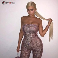 Ceremokiss Glitter Jumpsuit For Women Rompers Jumpsuit Sequin Strapless Playsuit Party Outfit Overalls Sexy Bodycon Jumpsuit