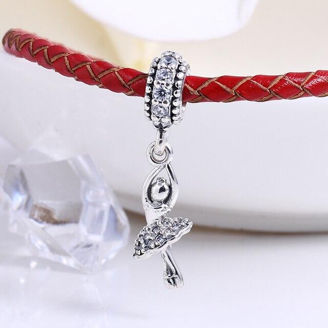 92b593d4bc52fd Nuova Autentica 100% 925 Sterling Silver ragazza di Balletto Misura  Branelli Pandora Charms Bracciale Originale
