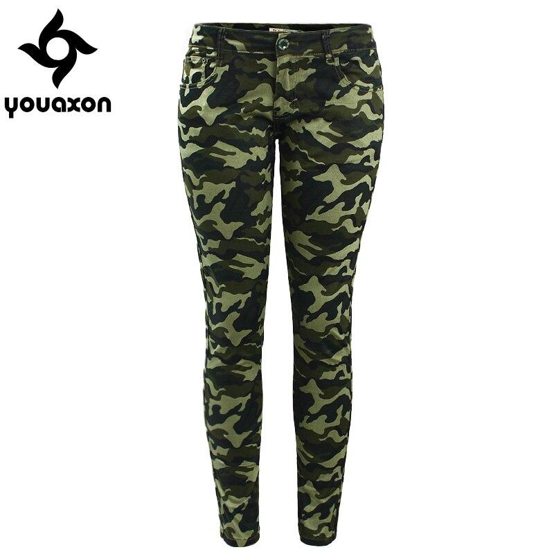 2019 youaxon Для женщин S-XXXXXL плюс Размеры Chic Camo Армейский зеленый обтягивающие джинсы для Для женщин Femme Камуфляж Обрезанные карандаш Брюки для девочек