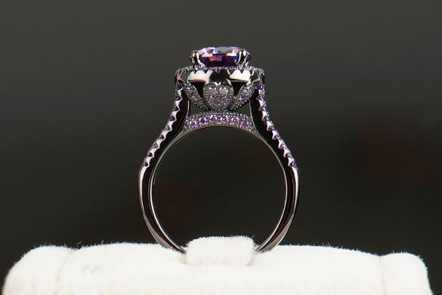 Purple Crystal Ring 5A Zircon