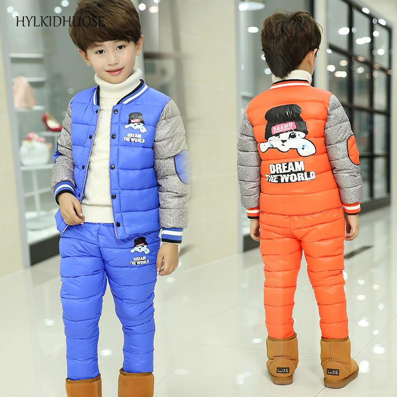 HYLKIDHUOSE 2017 Winter Children Clothes Sets Baby Girls Boys Suits Cartoon Outdoor Coats+Pants Sports Warm Kids Student Suits autumn winter boys girls clothes sets sports suits children warm clothing kids cartoon jacket pants long sleeved christmas suit