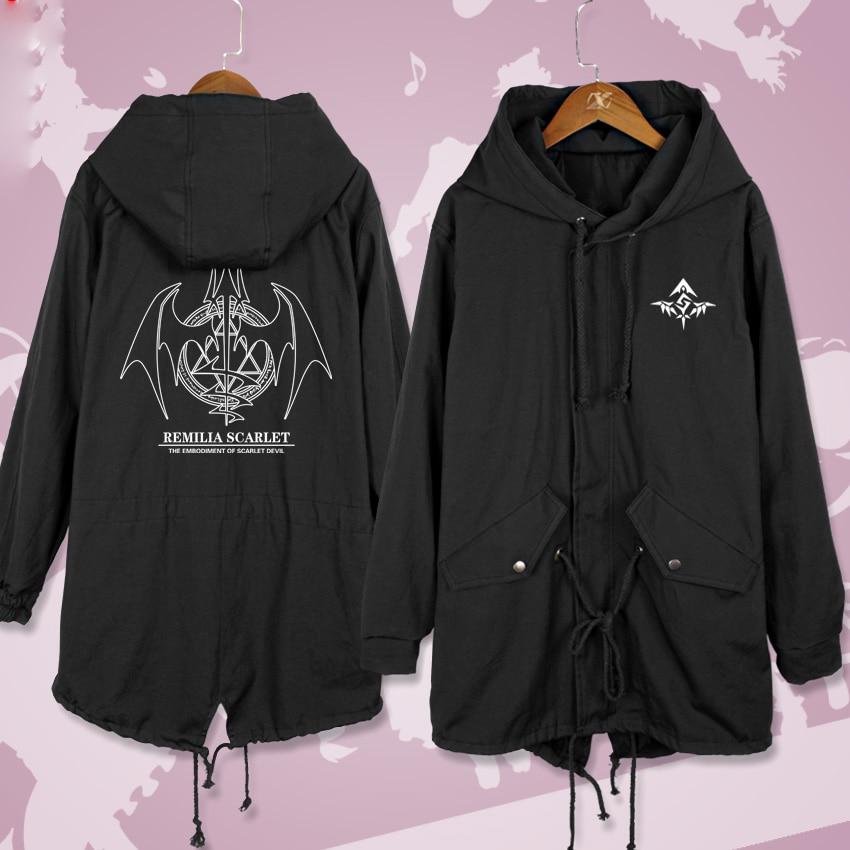 Anime TouHou Project Remilia Scarlet Cosplay Long Windbreaker Women Men Autumn Winter Warm Hooded Coat Zip Wind jacket outercoat