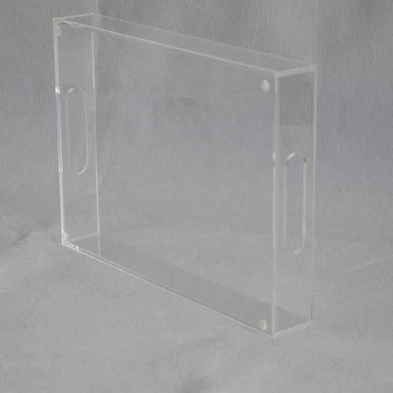 Прямоугольный прозрачный акрил сервировочные лотки с ручкой для напитков, фруктов, тортов, игрушек YAT-001-1-1