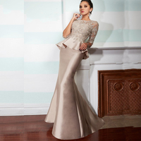Champagne Vintage Lace Mermaid Long Mother Of The Bride Dresses With Half Sleeves 2015 Peplum Formal