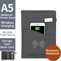 New Arrival Wireless Charging Notebook A5 Schedule Book Binder Spiral Diary Weekly Planner Business Note Book Agenda &Power Bank