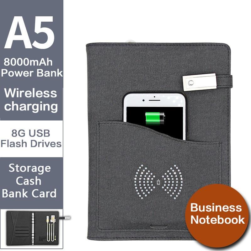 Nouveauté sans fil chargeur cahier A5 calendrier livre reliure spirale Agenda hebdomadaire planificateur Business Note Book Agenda et batterie externe