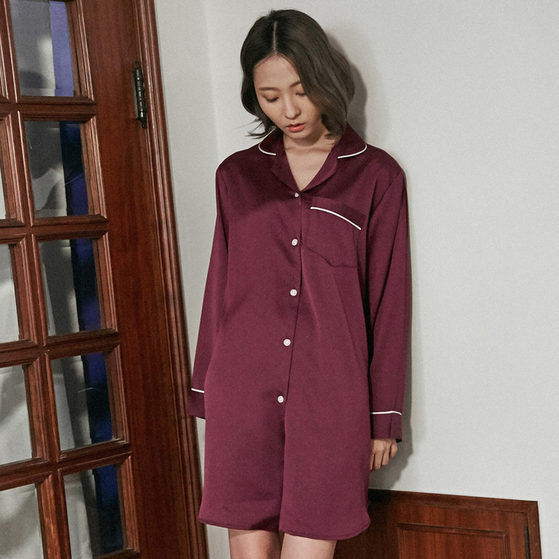 2018 Sleepwear Sexy Dress Long Shirt Women New Luxury On-Sale Wine Red Robe Chalaza Long Sleeve Robes Sexy Spring Wholesale