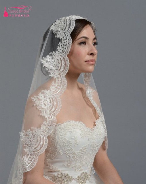 High Quality 2017 New White Ivory One Layer Lace Short Mantilla Wedding Veils Bridal Veils Voile Mariage Wedding Accessories