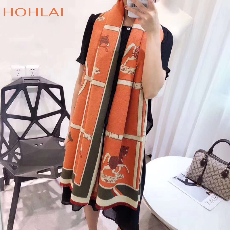 Luxury Brand Winter New Carriage Scarf Warm Shawl Thicken Tassels Horse Cashmere-like Fashion Show Poncho Cape Womens Pashmina