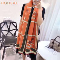 Luxury brand Winter New Carriage Scarf Warm Shawl Thicken Tassels Horse cashmere like fashion show poncho cape womens pashmina