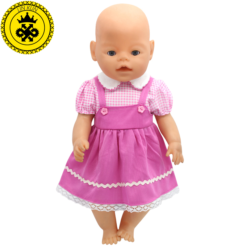 43cm Baby Doll Clothes Pink Handmade Suspender Skirt Clothes Dress Christmas Gift Doll Accessories Fashion 212