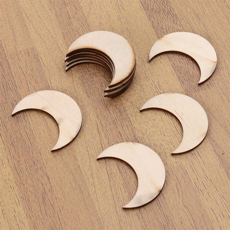 10 Pcs Unfinished DIY Moon Wooden Crafts Painting Model Basswood Moon Shape Architecture Sand Table Home Decoration A3