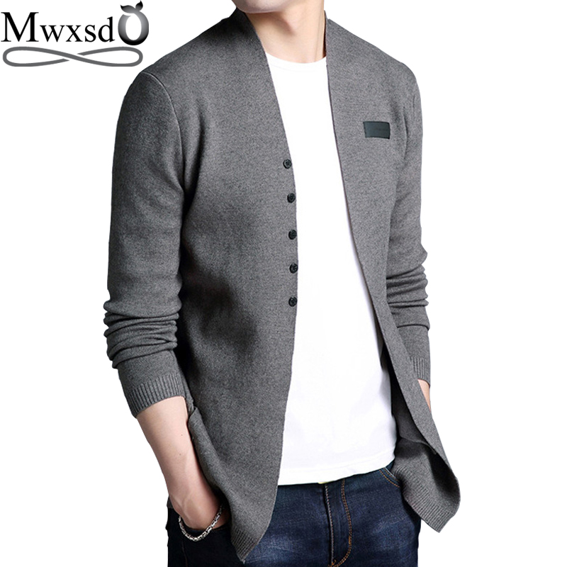 Mwxsd Brand Men Middle-Long Length Solid Cardigan Sweater Shirt Male Casual Autumn Solid Cardigan Sweater Plus 3xl