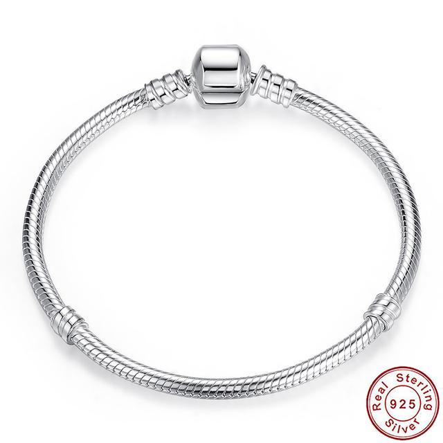 Auténticos 100% de Plata de ley 925 Pulsera de Cadena de Serpiente y Brazaletes Compatible con Joyería de Moda de Lujo S902
