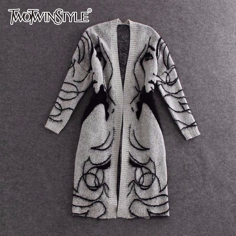 TWOTWINSTYLE Knitted Long Sweater Trench Coat Women Autumn Winter Big Size Cardigan Batwing Sleeve Female Jumper Cardigan 2020