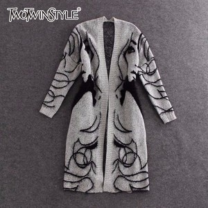 Image 1 - TWOTWINSTYLE Knitted Long Sweater Trench Coat Women Autumn Winter Big Size Cardigan Batwing Sleeve Female Jumper Cardigan 2020