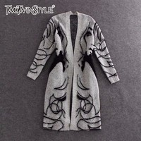 TWOTWINSTYLE Knitted Long Sweater Trench Coat Women Autumn Winter Big Size Cardigan Batwing Sleeve Female Jumper Cardigan 2018