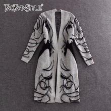 TWOTWINSTYLE długi sweter z dzianiny trencz kobiety jesień zima duży rozmiar sweter rękaw w kształcie skrzydła nietoperza sweter damski sweter 2020