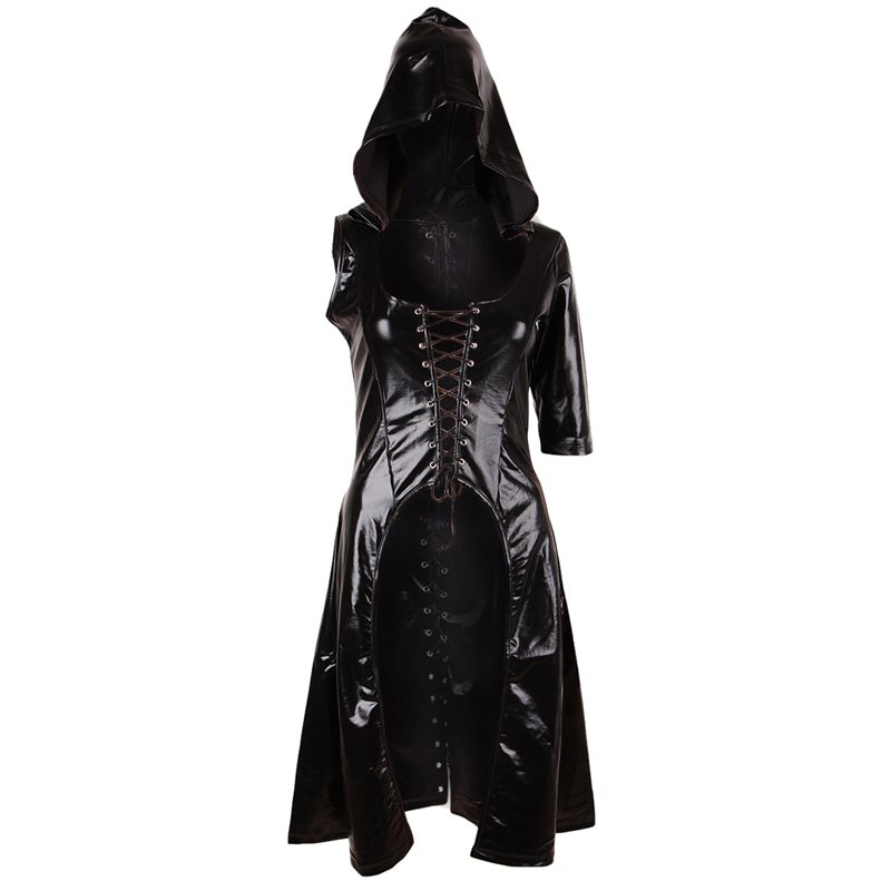 Summer Gothic Chic PU Plus Size Casual Women   Trench   Coats Black Sexy Club Slim Hooded Lace Up Overcoats Female Fashion Outwear