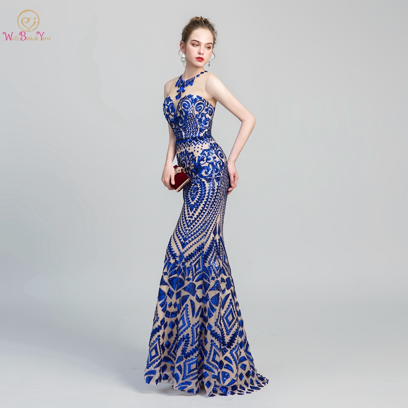 Royal Blue   Prom     Dresses   Sequined Reflective 2019 O Neck Mermaid Sweep Train Sleeveless Evening Gown Women Vestido De Festa Longo