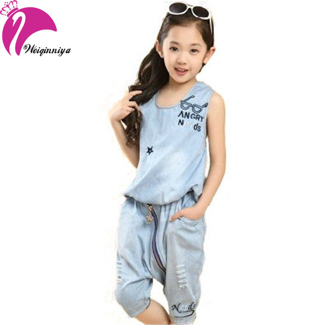 New Style Arrival 2016 Girls Sets Summer Fashion Letter Loose Sleeveless Sports Vest Sets Casual Denim Slim Kids Clothes Girls