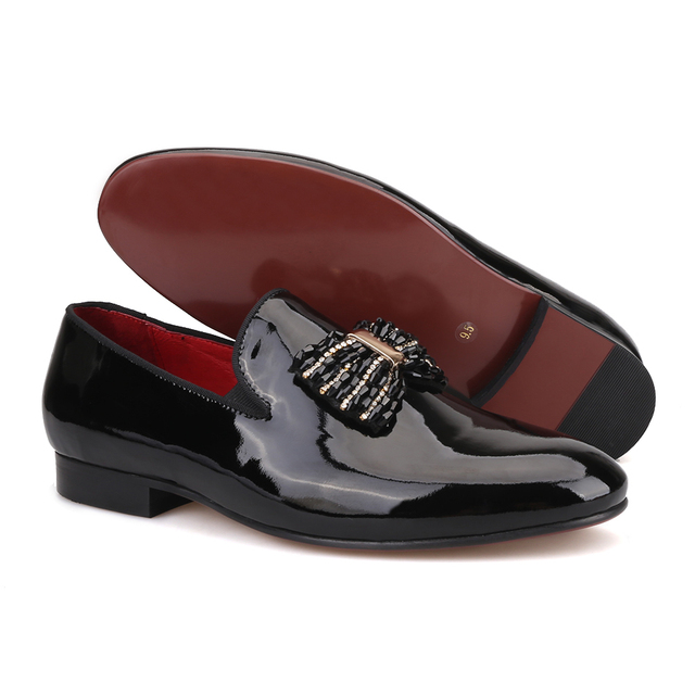 Black patent leather men handmade loafers with black rhineston bowtie Fashion party and prom men dress shoes 4