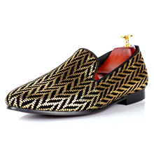 Harpelunde Gold Glitter Printed Men Casual Shoes New Arrival Fashion Velvet Loafers Size 7-14