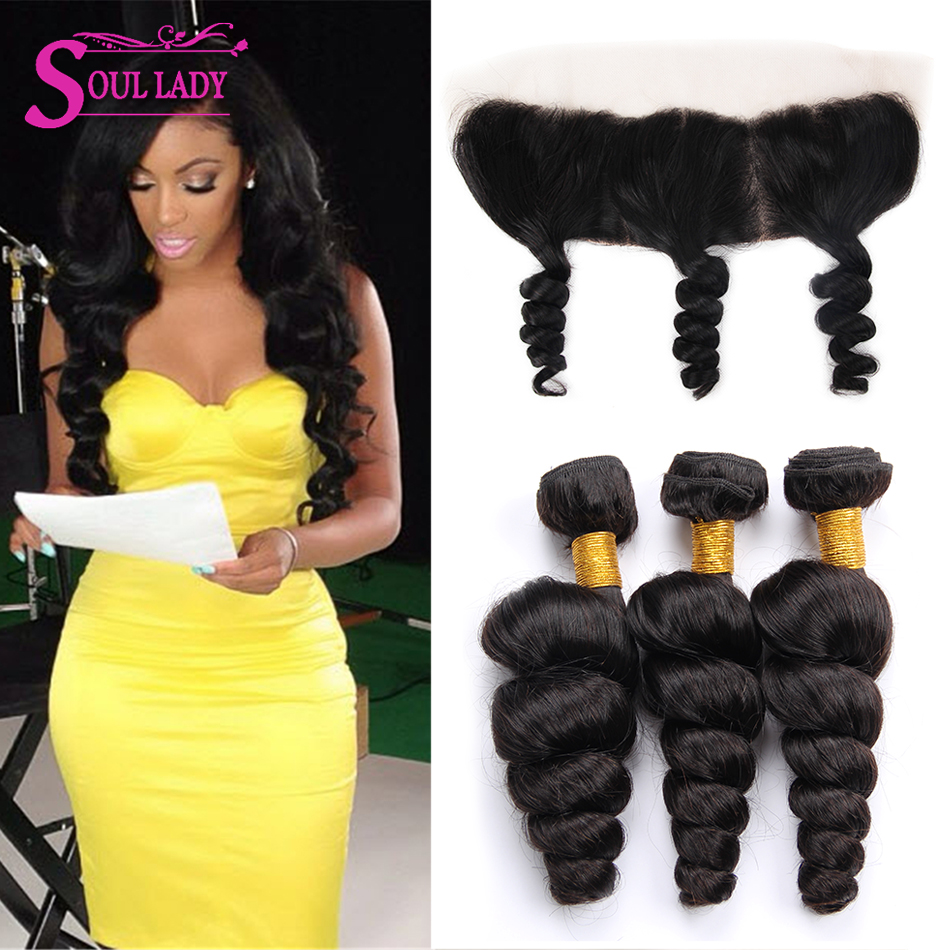 Soul Lady Brazilian Loose Wave Bundles With Frontal Closure Remy Brazilian Human Hair Weave Bundles With Ear To Ear Frontal